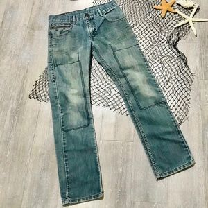 Levi's 511 red tab Moto style straight crop jeans